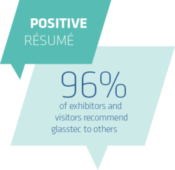 Positive Resume, 96% of exhibitors and visitors recommend glasstec to others