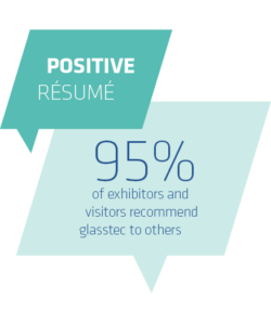 Positive Resume, 95% of exhibitors and visitors recommend glasstec to others